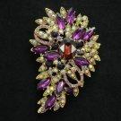 "New Brilliant Purple Flower Brooch Pin 3.3"" W/ Rhinestone Crystals Jewelry 4080"
