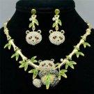 Gorgeous Lovely Bamboo Panda Necklace Earring Set Rhinestone Crystal Animal