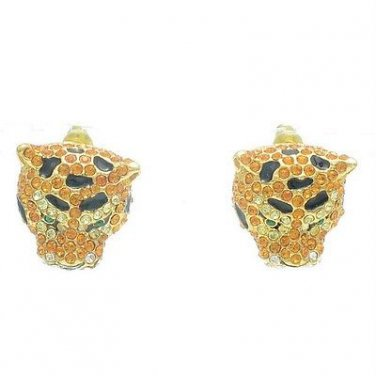 Panther Leopard Dangle Pierced Earring W/ Topaz Swarovski Crystals