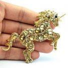 "Vintage Brown Unicorn Horse Brooch Pin Pendant Rhinestone Crystals 3.3"" 6172"