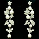 Wedding Faux Pearl Flower Pierced Earring W/ Clear Rhinestone Crystals FA3021