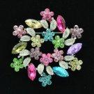 """Rhinestone Crystals Multiclor Round Leaf Flower Brooch Broach Pin 2.6"""" 0212"""