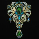 "Huge Green Flower Pendant Brooch Broach Pin 5.1"" W/ Rhinestone Crystals 4042"