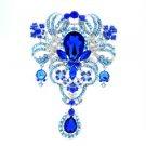 """Huge Drop Flower Brooch Broach Pin 5.1"""" Blue Rhinestone Crystals Floral 4042"""