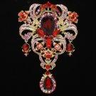 "Gold Tone Red Flower Pendant Brooch Broach Pin 5.1"" W/ Rhinestone Crystals 4042"