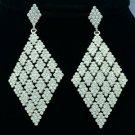 """Fashion Wedding Dangle Pierced Earring w/ Clear Rhinestone Crystals 3.2"""" 7444"""
