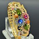 High Quality Leaf Flower Bracelet Bangle W/ Mix Swarovski Crystals SKCA1730M-4