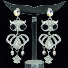 H-Quality Animal Clear Swarovski Crystals Dangle Pierced Owl Earring SEA0888-2