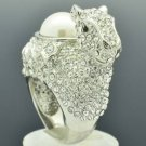 Faux Pearl Ctue Clear Alpaca Llama Cocktail Ring Sz 7# Swarovski Crystal SR2126A
