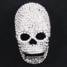 "Rhinestone Crystals Clear Cool Skull Brooch Pin 3.2"" For Halloween 10003"