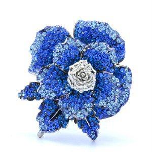 """H-Quaity Rose Flower Brooch Broach Pin 2.2"""" w/ Blue Swarovski Crystals 787401"""