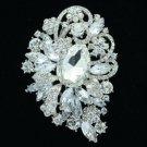 """Bridal Flower Brooch Pin 3.5"""" W/ Clear Rhinestone Crystals Wedding 6075"""