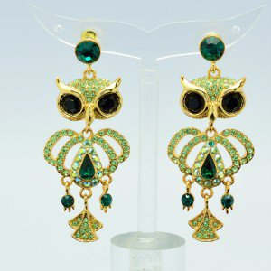 H-Quality Animal Green Swarovski Crystals Dangle Pierced Owl Earring SEA0888-1