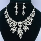 Rhinestone Crystals Snake Bone Skeleton Skull Necklace Earring Sets