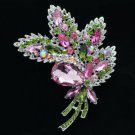 "Rhinestone Crystals Pink Flower Leaf Brooch Broach 3.9"" W/ Silver Tone 4037"
