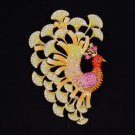 "H-Quality Bird Peafowl Peacock Brooch Broach Pin 3.7"" W Swarovski Crystal SB4375"