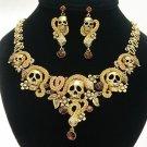 Vintage Style Topaz Swarovski Crystal Snake Skeleton Skull Necklace Earring Sets
