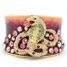 H-Quality Pink Swarovski Crystals Enamel Snake Bracelet Bangle Cuff SKA1871M-1