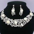 Bride White Acrylic Rose Flower Necklace Earring Set W Rhinestone Crystals 02677