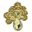 """Vintage Brown Flower Broach Brooch Pin Pendant Rhinestone Crystals 2.6"""" 6175"""