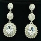 Clear Zircon Rhinestone Crystals Dangle Flower Pierced Earring Wedding 20576
