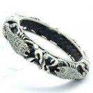 Gray Swarovski Crystals Black Leather Scorpion Bracelet Bangle Cuff SKCA2003M-2