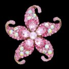 "Vintage Style Starfish Brooch Broach Pin 3.1"" W/ Pink Rhinestone Crystals 0482"