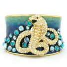 H-Quality Clear Swarovski Crystals Enamel Snake Bracelet Bangle Cuff SKA1871M-4