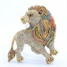 "Vintage Style H-Quality Animal Lion Brooch Broach Pin 2.5"" W/ Swarovski Crystals"