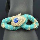 Blue Swarovski Crystals Enamel Snake Bracelet Bangle Cuff SKCA2077M-1
