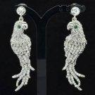 Cute Clear Rhinestone Crystals Dangle Bird Animal Pierced Parrot Earring