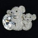 "Swarovski Crystals Animal Clear Bear Koala With Baby Brooch Broach Pin 1.7"""