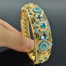 High Quality Flower Bracelet Bangle W/ Blue Swarovski Crystals SKCA1405M-4