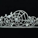 Stunning Wedding Clear Spider Web Cobweb Tiara Crown Rhinestone Crystals 14359R
