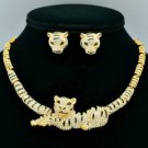 H-Quality Glitzy Tiger Necklace Earring Set W/ Clear Swarovski Crystals SN2913-4