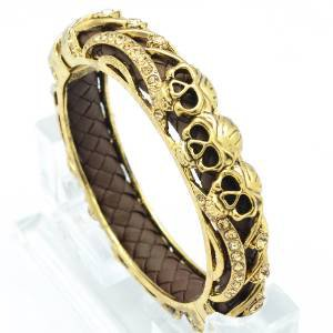 Gold Swarovski Crystals Brown Leather 3 Skull Bracelet Bangle Cuff SKCA2004M