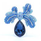 """Exquisite Bowknot Drop Flower Brooch Pin 2.4"""" W/ Rhinestone Crystals Blue 5988"""