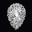 "Teardrop Flower Brooch Pin Clear Rhinestone Crystal Bridal 3.9"" 5952"