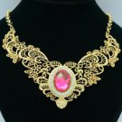 Gold Tone Fuchsia Flower Necklace Pendant w/ Clear Crystals