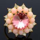 Pink Swarovski Crystals Acrylic Flower Cocktail Ring Size Adjustable 263013