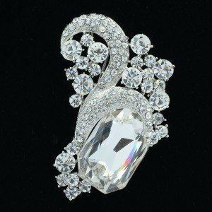 "New Chic Clear Flower Brooch Pin 2.4"" Rhinestone Crystals 6045"