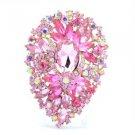 "Pink Drop Flower Brooch Pin Rhinestone Crystal 3.9"" 8805952"