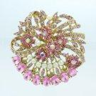 "Faux Pearl Round Flower Brooch Broach Pin 2.1"" W/ Pink Rhinestone Crystals 5837"