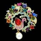 Mix Swarovski Crystals Faux Pearl Drop Peafowl Peacock Brooch Pin SBA4504-3