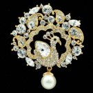 Clear Swarovski Crystals Faux Pearl Drop Peafowl Peacock Brooch Pin SBA4504-2