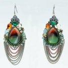 Vintage Style Rhinestone Crystals Resin Dangle Pierced Earring 00820