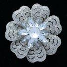 """Bridal Clear Floral Flower Brooch Broach Pin 2.7"""" W/ Rhinestone Crystals 6028"""