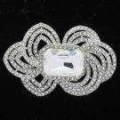 """Rhinestone Crystals Clear Ellipse Flower Brooch Broach Pin 3.1"""" Wedding 6076"""