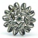 "Rhinestone Crystals Black Round Flower Brooch Broach Pin 2.5"" 2984"