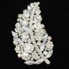 """Brid Wedding Leaf Flower Brooch Broach Pin 3.7"""" W/ Clear Rhinestone Crystal 4245"""